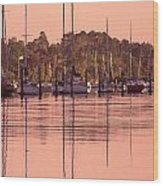 Yachts At Dawn Wood Print