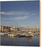 Yachts In A Marina At Sunset Wood Print