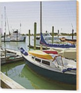 Yachts In A Port 1 Wood Print