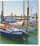Yachts In A Port 4 Wood Print