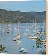Yachts In A Quiet Estuary Wood Print