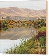 Yakima River Autumn Wood Print