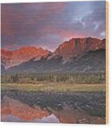 Yamnuska And Reflection  Wood Print