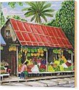 Yangon Fruitstand Wood Print
