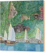 Yangtze Boats Wood Print