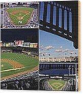 Yankee Stadium Collage Wood Print by Allen Beatty