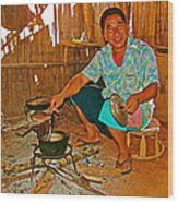 Yao Mien Tribe Man In His Home With His Cooking Pot North Of Chiang Rai In Mae Salong-thailand  Wood Print