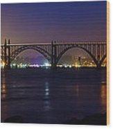 Yaquina Bay Bridge At Night Wood Print