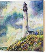 yaquina Head Lighthouse Wood Print by Ann  Nicholson