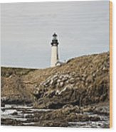 Yaquina Head Lighthouse From The Beach Wood Print