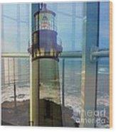 Yaquina Head Lighthouse Mirage  Wood Print