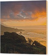 Yaquina Head Lighthouse Sunset. Wood Print