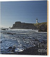 Yaquina Lighthouse And Beach No 1 Wood Print