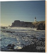 Yaquina Lighthouse And Beach No 2 Wood Print