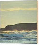 Yaquinas Rolling Waves Wood Print by Sheldon Blackwell