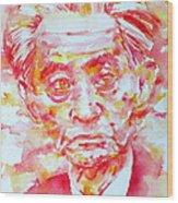 Yasunari Kawabata Watercolor Portrait Wood Print