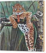 Yawning Leopard Wood Print