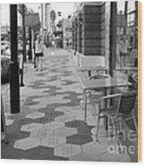 Ybor City Sidewalk - Black And White Wood Print