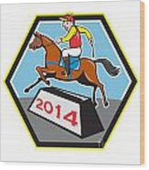 Year Of Horse 2014 Jockey Jumping Cartoon Wood Print
