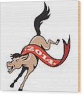 Year Of Horse 2014 Jumping Cartoon Wood Print by Aloysius Patrimonio