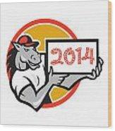 Year Of Horse 2014 Showing Sign Cartoon Wood Print by Aloysius Patrimonio