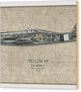 Yellow 10 Focke-wulf Fw190d - Map Background Wood Print by Craig Tinder