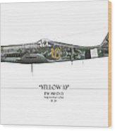 Yellow 10 Focke-wulf Fw190d - White Background Wood Print