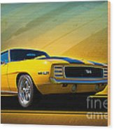 Yellow 1969 Camaro Ss Wood Print