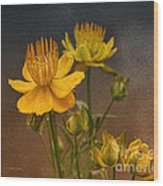 Yellow Aged Floral Wood Print
