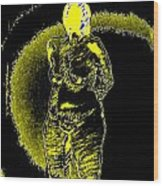 Yellow And Black Woman Wood Print