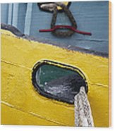 Yellow And Blue Boat Wood Print