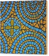 Yellow And Blue Mosaic Wood Print