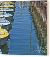 Yellow And Blue Sailboats From The Book My Ocean Wood Print by Artist and Photographer Laura Wrede