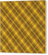 Yellow And Brown Diagonal Plaid Pattern Cloth Background Wood Print