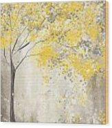 Yellow And Gray Tree Wood Print