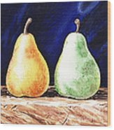 Yellow And Green Pear Wood Print
