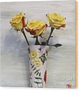 Yellow And Red Tipped Roses Wood Print