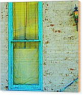 Art Deco Lamp And Yellow And Turquoise Window Wood Print