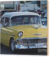 Yellow And White Classic Chevy Wood Print