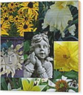 Yellow And White Flower Collage Wood Print