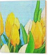 Yellow And White Tulips Wood Print