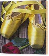 Yellow Ballet Shoes Wood Print