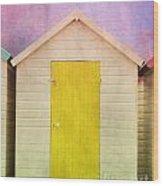 Yellow Beach Hut Wood Print