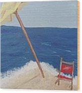 Yellow Beach Umbrella And Chair 3 Wood Print