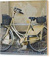 Yellow Bicycle In Copenhagen Wood Print