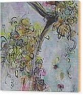Yellow Blossoms Painting Flowr Butterflies Art Abstract Modern Spring Color Flower Art Wood Print