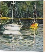 Yellow Boat Sister Bay Wood Print