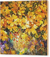 Yellow Bouquet - Palette Knife Oil Painting On Canvas By Leonid Afremov Wood Print