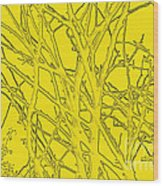 Yellow Branches Wood Print