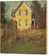 Yellow Brick Farmhouse Wood Print